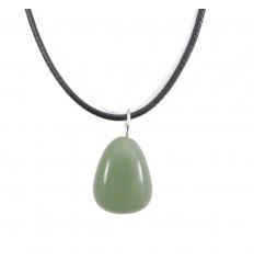 Collier Aventurine verte naturelle Extra, pendentif pierres roulées.