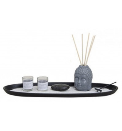 Japanese garden XL - aroma Diffuser buddha's head & candles - gift Box