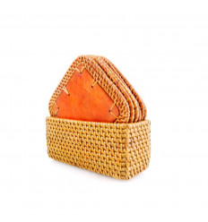 Coasters wood and rattan square. Natural and not expensive. Set of 6.