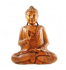 Grande statue Bouddha en bois massif, décoration artisanale.