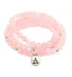Bracelet Mala 108 perles en quartz rose naturel - symbole Bouddha