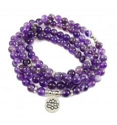 Bracelet Mala 108 perles en Améthyste naturelle - Symbole fleur de Lotus