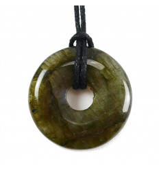 Collar Angélite (Anhydrite) AAA - pendant stone rolled + cord