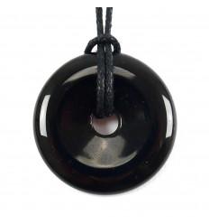 Donut Pi Chinois Obsidienne noire + cordon. Pendenitf ou bracelet