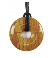 DDonut Pi Chinois Jaspe Paysage (Bois) + cordon. Pendenitf ou bracelet
