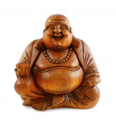 Statue Bouddha chinois rieur, Happy Buddha. Artisanat en bois H30.