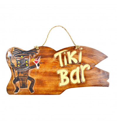 "Large plaque / sign wooden ""Tiki Bar"" 50cm handcrafted."