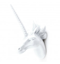 White unicorn. Wall decoration or peg resin.