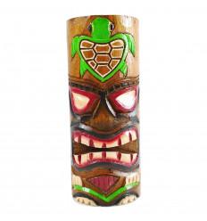 Totem Tiki l'artigianato del legno. Modello tartaruga 25cm. Trofeo avventura.