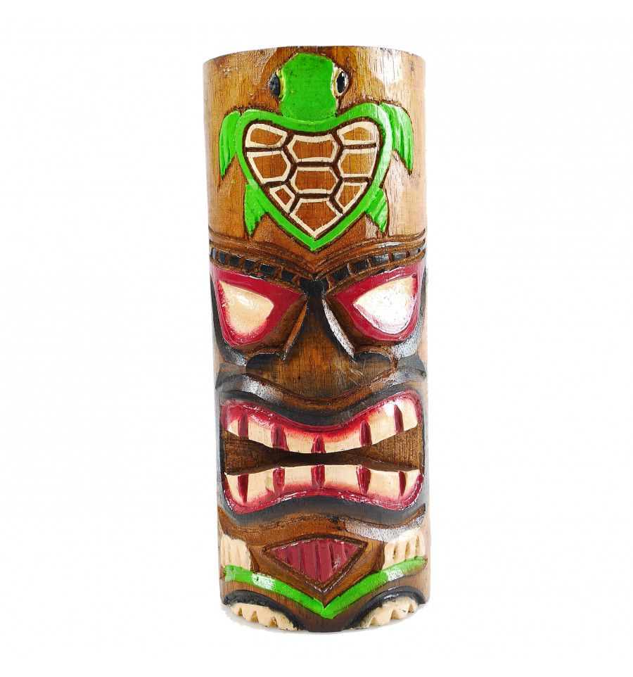 D/éco Murale Tiki Bar. Masque Tiki h50cm en Bois Motif Ananas
