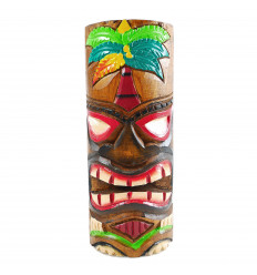 Totem Tiki en bois artisanal. Modèle palmier 25cm. Trophée aventure.
