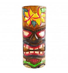 Totem Tiki en bois artisanal. Modèle fleur 25cm. Trophée aventure.