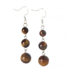 Earrings hanging 3 balls in Tiger Eye -free Delivery !!!