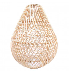 Suspension lamp shade in natural rattan. Chandelier light fixture ethnic background.