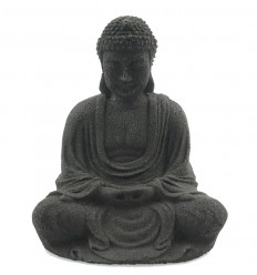Buddha statuette in black stone, Zen Buddhist altar decoration.