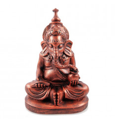 Ganesh statue 12cm lacquered in glossy black.