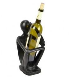 """Présentoir pour bouteille de vin """"Penseur"""" en bois finition teinte ébène."""