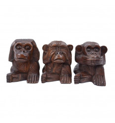 The 3 wise monkeys. Statues solid wood brown H15cm