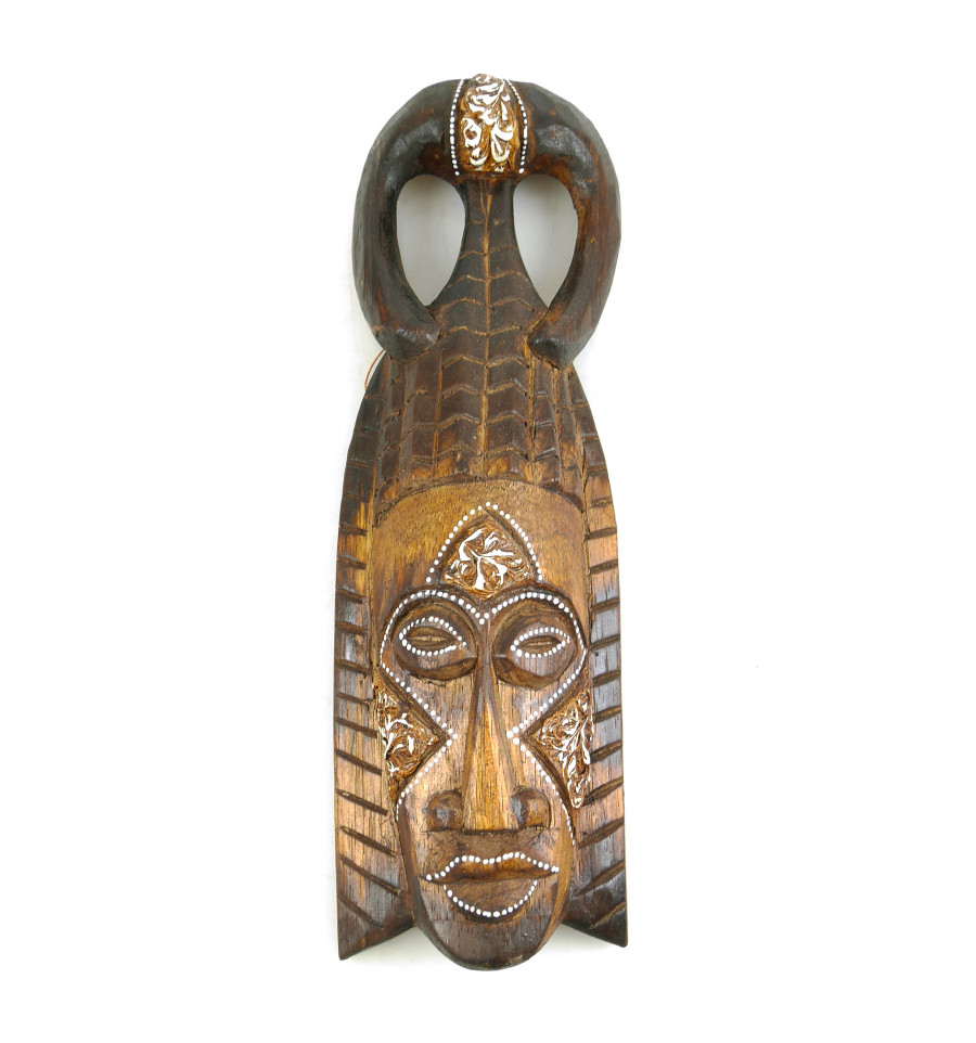 Masque Tiki h30cm en bois style traditionnel Déco murale ethnique.