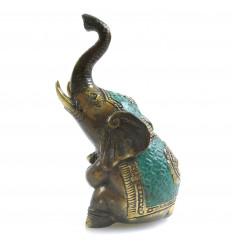 Statuette éléphant en Bronze assis Trompe en l'Air H11cm Porte-bonheur