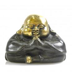 Buddha Laughing Chinese Statue Craft Bronze Deco Asia H6cm