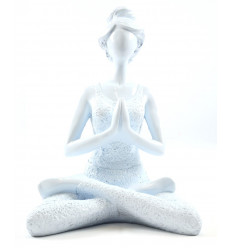 Statuette woman sitting in a Yoga position colours high-gloss white 22cm front