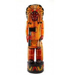 Great staute of chief american indian with headdress and war axe traditional colorful wooden 100cm