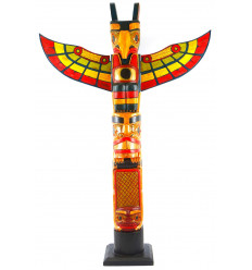 Large indian totem multicolor 100cm solid wood with figurine eagle