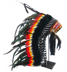 Long indian head adorned with real white feathers and orange