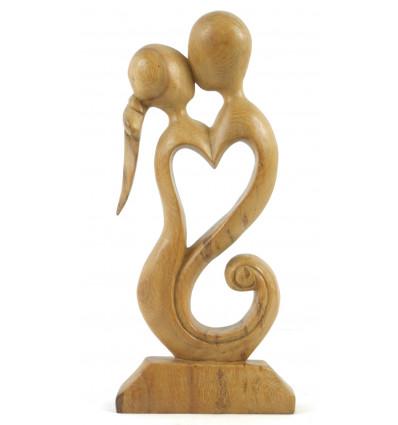 Statue Couple en Fusion h30cm en bois brut - idée cadeau noces de bois.