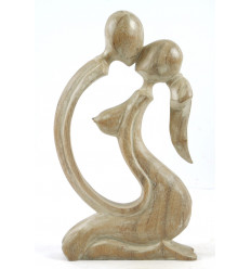 Statue Couple Sensuel h30cm en bois massif patine blanche. Idée cadeau coquin.