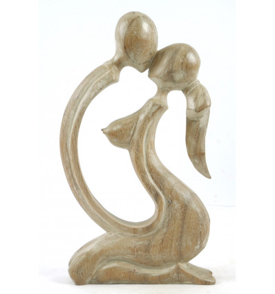Statue Couple Sensual h30cm solid wood patina white. Gift idea naughty.