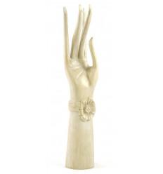 Grande main de Bouddha / Présentoir à bijoux en bois massif H40cm blanc cérusé