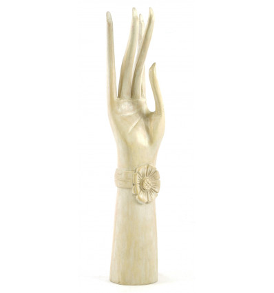 La grande mano di Buddha / Display casella di gioielli in legno massello H40cm bianco spazzolato