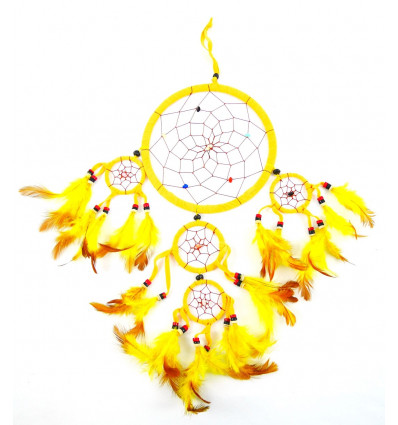 Big giant dream catcher craft 50x25cm, velvet, yellow