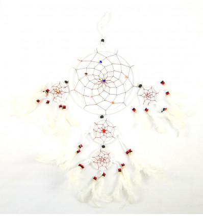 Grand attrape-rêves artisanal 50x25cm en velours blanc