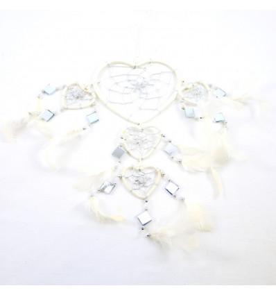 Attrape-rêves original forme Coeur 45x20cm - Blanc