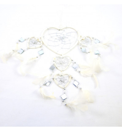 Giant dream catcher original form Heart 45x20cm - White