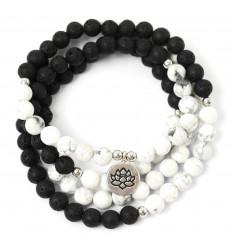 Bracelet Mala 108 beads of lava Stone and Howlite - Symbol, Lotus flower
