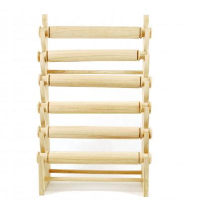 Grand présentoir bracelets et montres 6 joncs en bois massif brut