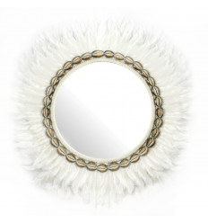 Mirror Juju Hat Handmade with White Feather and sea Shells 60cm