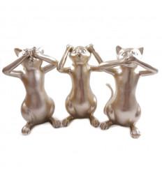 Statuettes Chats de la Sagesse / Secret du Bonheur Doré 25cm