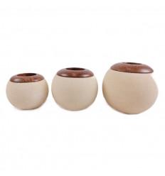 Lotto di 3 portacandele pietra rotonda, beige, deco zen e l'etnico.