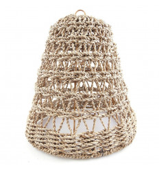 Suspension lampshade ethnic seagrass. Chandelier chic bohemian.