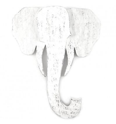 Grande Tête d'Éléphant Murale en Bois Vieilli Blanc 48cm