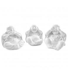 """Statuette di """"3 Buddha della saggezza"""" rivestiti di resina nera lucida."""
