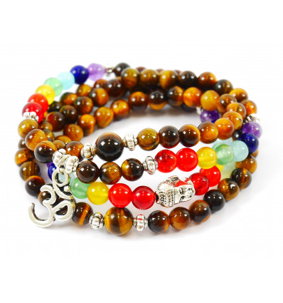 Bracelet multirang 7 chakras - Mala tibétain en oeil de tigre et pierres fines + symbole Ôm