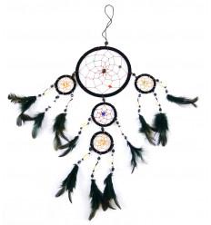 Attrape-rêve indien noir Plumes et coquillages