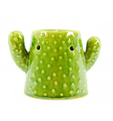 Brûle parfum Cactus en céramique artisanale verte
