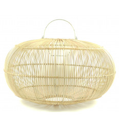 Grande suspension / Lustre ovale en rotin naturel ø50cm - fabrication artisanale